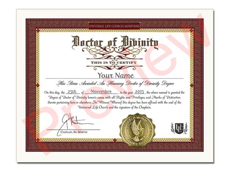 honorary dr  divinity certificate dd universal life
