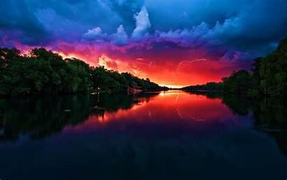 Sunset Landscape Lightning Nature Wallpapers Lakes Desktop