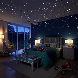 glow in the dark stars wall stickers 252 dots and moon With perfect reflective wall decals ideas to sparkle your rooms