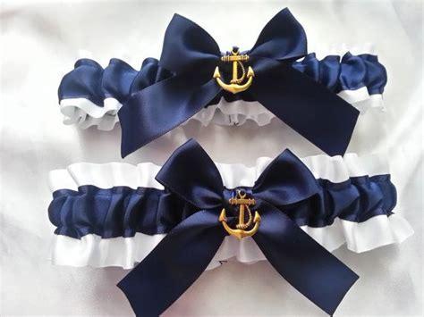 nautical wedding garter set navy  white  ivory