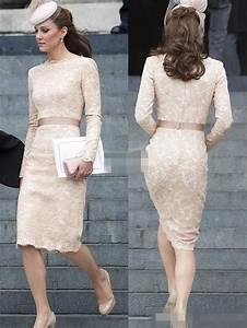 Kate Middleton Short Lace Evening Dresses 2015 Scoop Long ...