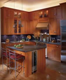 Beige Kitchens with Cherry Cabinets