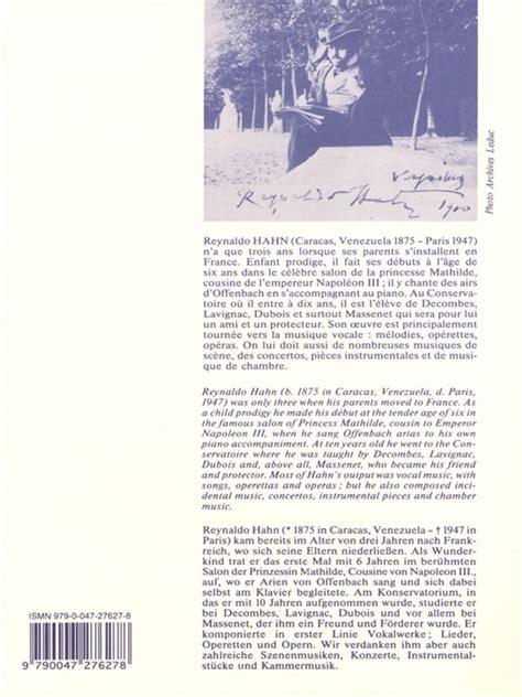 0043046606 livre de melodies volume reynaldo hahn melodies volume 2 accompagnement piano