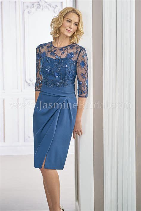 m190017 knee length illusion neckline sequin lace crepe
