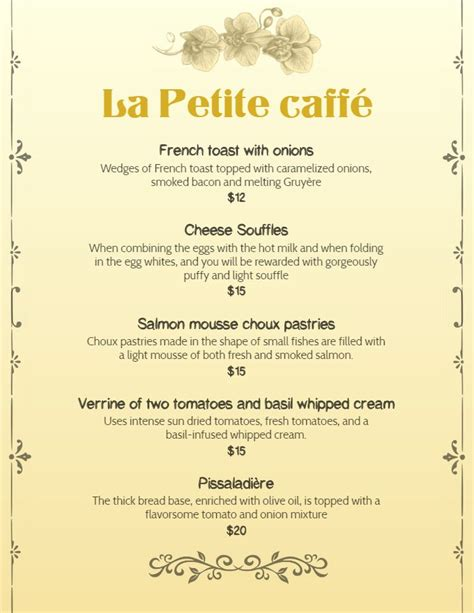 french cafe breakfast menu template design  images