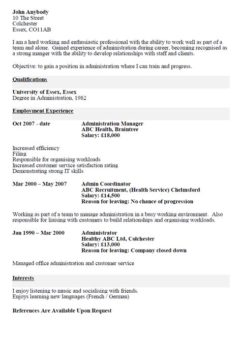 Exle Of A Resume For A Person With No Work Experience by Cv Resume Cv