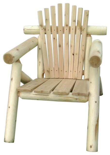 white cedar log outdoor adirondack chair rustic