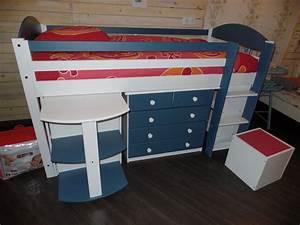 Lit Enfant Combiné : destockage lit combin enfant mezzanine mi haut verona ~ Farleysfitness.com Idées de Décoration