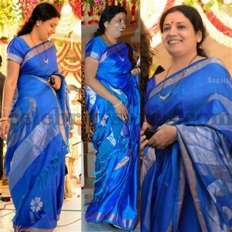 jeevitha in sky blue uppada silk saree saree blouse patterns sarees