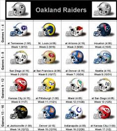 Oakland Raiders 2014 Schedule Printable
