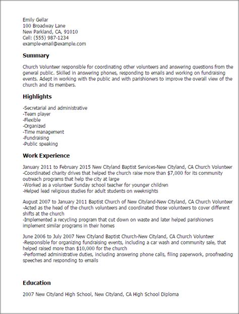 Volunteer Resume Bullets by Professional Church Volunteer Templates To Showcase Your Talent Myperfectresume