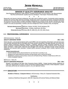 Resume Format For Quality Assurance by Quality Assurance Resume Exle