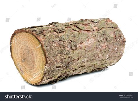 Wood Log Fire Wood Front White Stock Photo 108676493