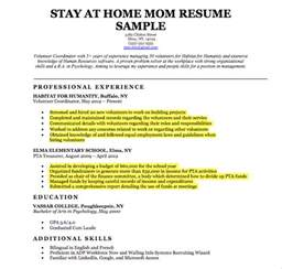 Stay At Home Resume Experience by Stay At Home Resume Sle Writing Tips Resume Companion
