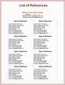3+ Free Printable Reference List Template for Word