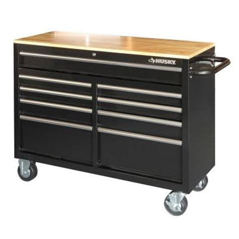 Home Depot Tool Chest On Wheels by Husky 46 In 9 Drawer Mobile Workbench With Solid Wood Top