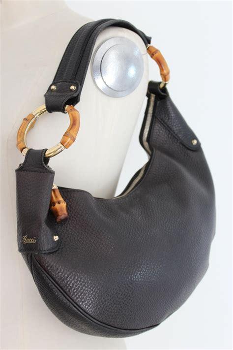 gucci black leather bamboo ring  moon hobo shoulder bag  stdibs