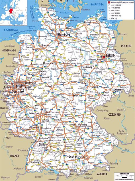 large road map  germany  cities  airports