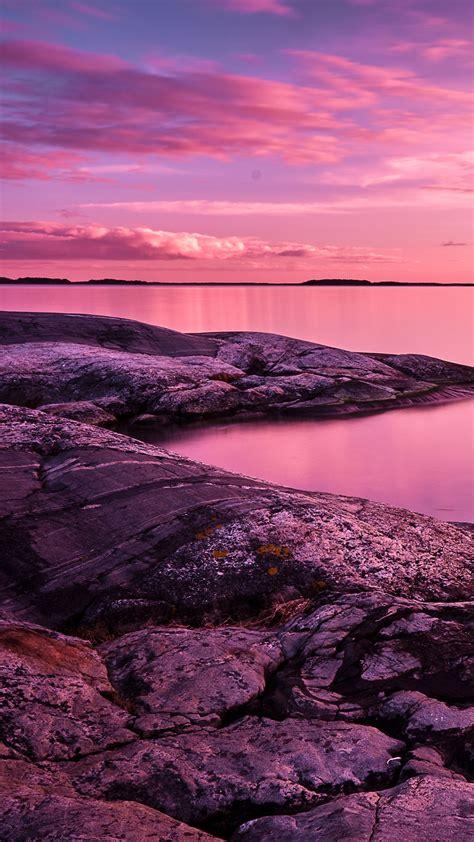wallpaper sunset scenery lake rocks pink sky   nature  wallpaper  iphone