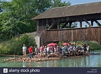Rafting on the Isar from Wolfratshausen to Munich Stock ...