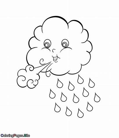 Coloring Cloud Blowing Clouds Pages Winter Template
