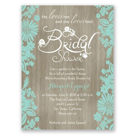 Bridal Shower Invitations - flowers and woodgrain bridal shower invitation