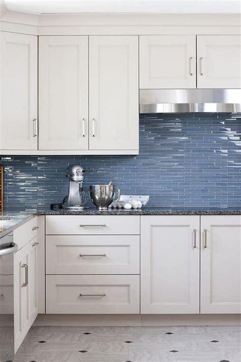 Blue Glass Kitchen Backsplash Tiles  Transitional  Kitchen