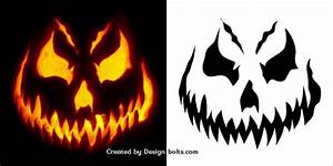 10 free halloween scary pumpkin carving stencils patterns With scary jack o lantern face template
