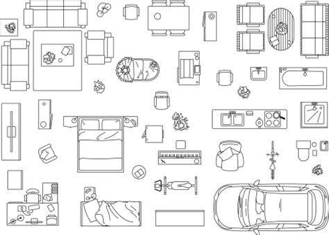 vector image set  furniture appliances  car vector
