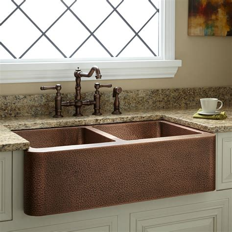 kitchen farm sinks signature hardware 35 quot bowl hammered copper 1609