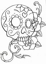 Skull Sugar Coloring Pages Simple Drawing Roses Owl Skulls Easy Pdf Printable Crossbones Candy Rose Drawings Adults Teenagers Heart Getdrawings sketch template