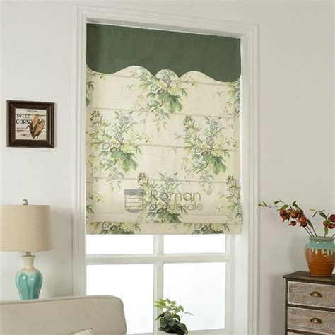 Pastoral Beige Flat Shaped Roman Shades Fabric For Bedroom