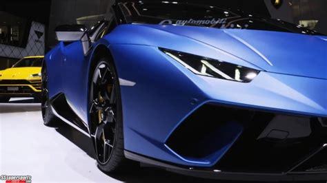 3 Blue Lamborghini Huracan Performante Spyder At Geneva