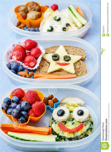 School Lunch Boxes For Kids With Food In The Form Of Funny