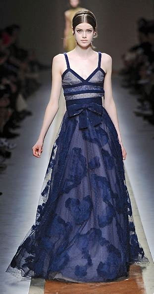 valentino blue runway fashion couture gown fashion