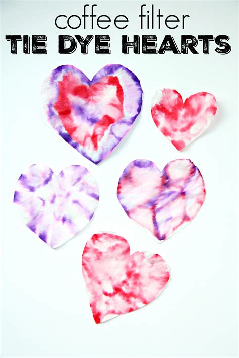 Use the marker water painting technique on the coffee filters and then add a construction paper umbrella handle. Coffee Filter Tie Dye Hearts - My Mommy Style