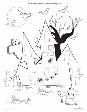 trace amp color the haunted house worksheet education 594 | trace color haunted house fine