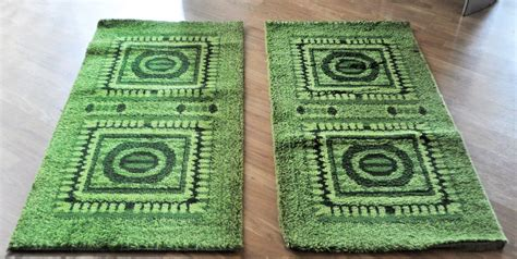Bedside Rugs Sale by Green Mosaic Bedside Rugs 1970s Set Of 2 For Sale At Pamono