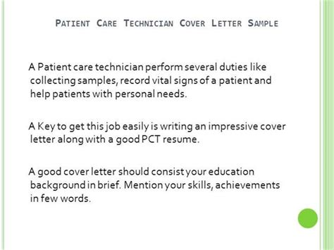 field technician cover letter no experience patient care technician cover letter no experience