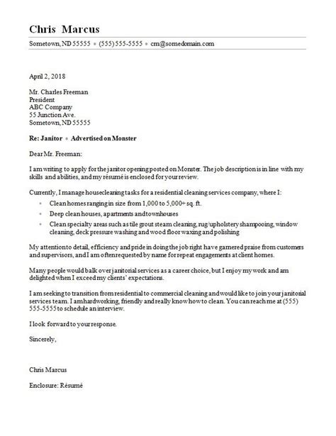 Custodian Cover Letter Exles by Janitor Cover Letter Sle
