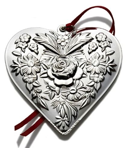 repousse heart sterling christmas ornament 2010 kirk