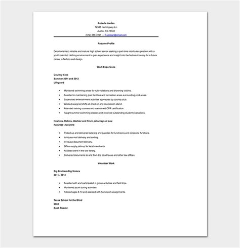 School Resume Template by High School Resume Template 10 Sles Formats