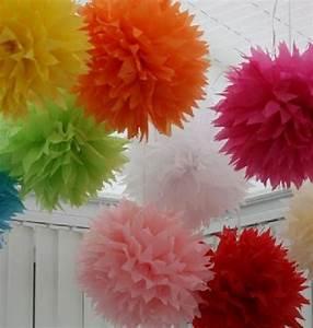 Papier De Soie Blanc : vente pompon papier de soie fleur 38 cm blanc d coration ~ Farleysfitness.com Idées de Décoration