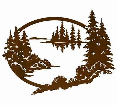 Mountain Scene Lake Metal Tree Nature Stencil