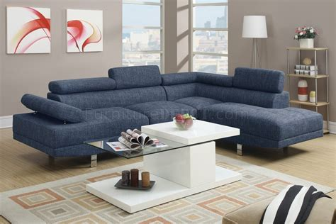 F7548 Sectional Sofa By Boss In Light Blue Fabric