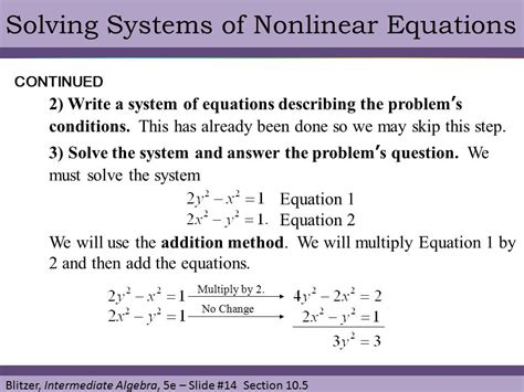 solving nonlinear systems of equations worksheet the