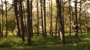 Runner. Boy Running Through The Pine Forest. Guy Jogging ...