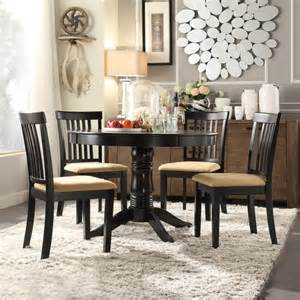 lexington 5 piece round table dining set with mission back chairs black walmart com