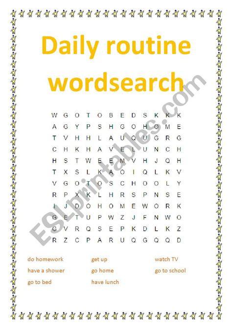 daily routine wordsearch esl worksheet  ewa