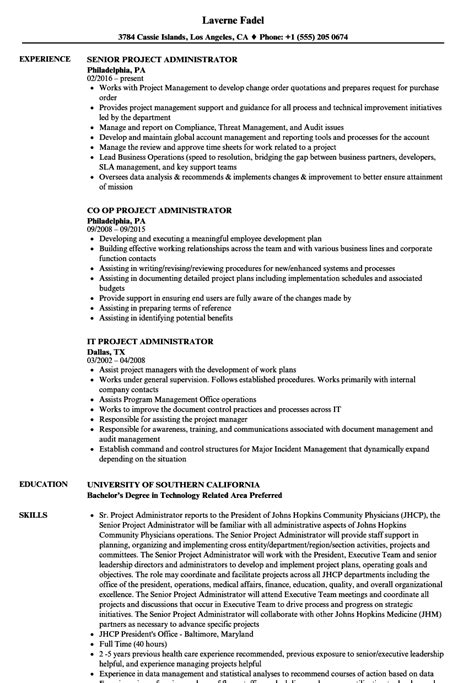 Project Administrator Resume by Administrator Project Resume Sles Velvet